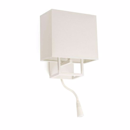 Picture of FARO VESPER WHITE BEDSIDE LED WALL LAMP WITH BEIGE SHADE