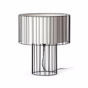 Picture of FARO LINDA TABLE LAMP BLACK WITH WHITE SHADE