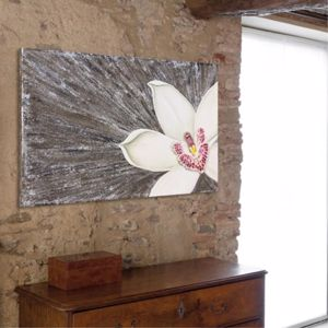 Picture of PINTDECOR OFELIA WALL ART HAND-DECORATED EMBOSSED ORCHID ON CANVAS  WITH SILVER FOIL DETAILS