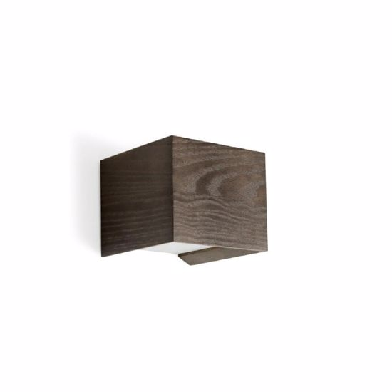 Picture of LINEA LIGHT MADERA WALL LAMP CUBE IN WOOD OAK GREY 10CM