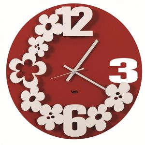 Picture of ARTI E MESTIERI FLOWER STORM WALL CLOCK RED COLOUR