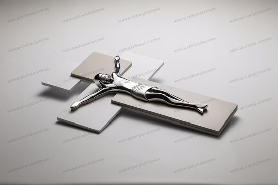 Picture of MODERN WALL CROSS 42X30 CHROMED CHRIST ON DOVEGREY AND WHITE MDF WOOD