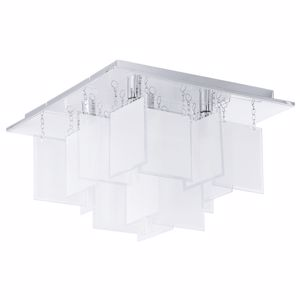 Picture of EGLO CONDRADA MODERN CEILING LAMP SQUARE WHITE GLASS