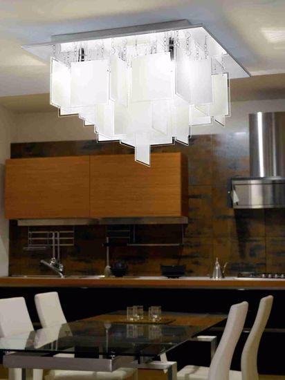 Picture of EGLO CONDRADA MODERN CEILING LAMP SQUARE WHITE GLASS