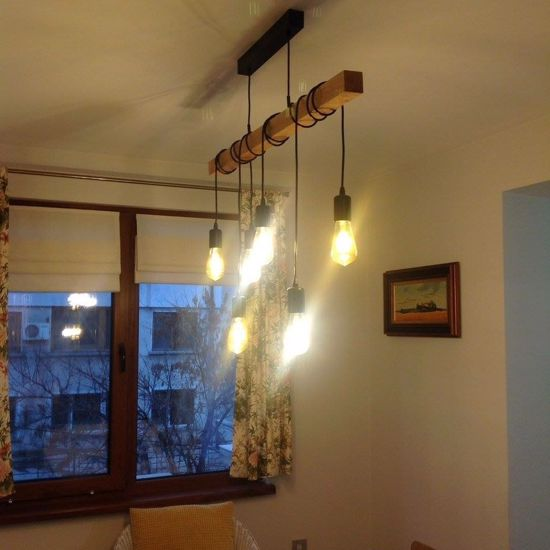 Picture of VINTAGE PENDANT LIGHT WITH 6 PENDING LIGHT BULBS