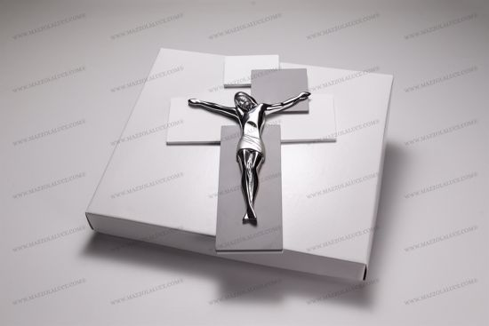 Picture of MODERN WALL CROSS 60x40 CHROMED CHRIST ON GREY AND WHITE MDF WOOD