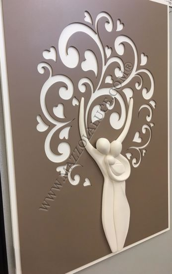 Picture of WALL ART 42X58 TREE OF LIFE FAMILY DOVE GREY BACKGROUND WITH HEARTS