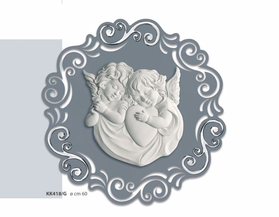 Picture of MODERN ART ABOVE BED ANGELS GREY AND SILVER Ø60