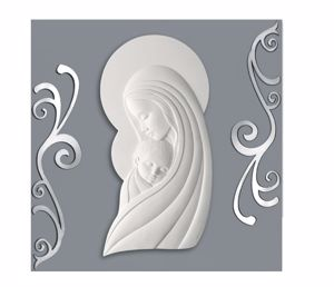 Picture of CONTEMPORARY ART ABOVE BED MOTHER WITH CHILD GREY AND WHITE