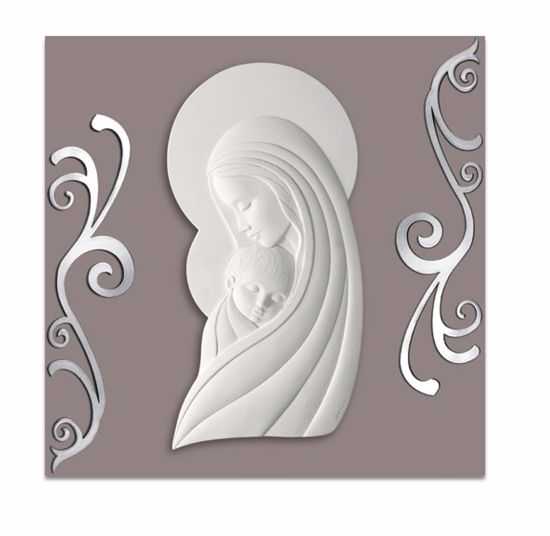 Picture of CONTEMPORARY ART ABOVE BED MOTHER WITH CHILD DOVE GREY