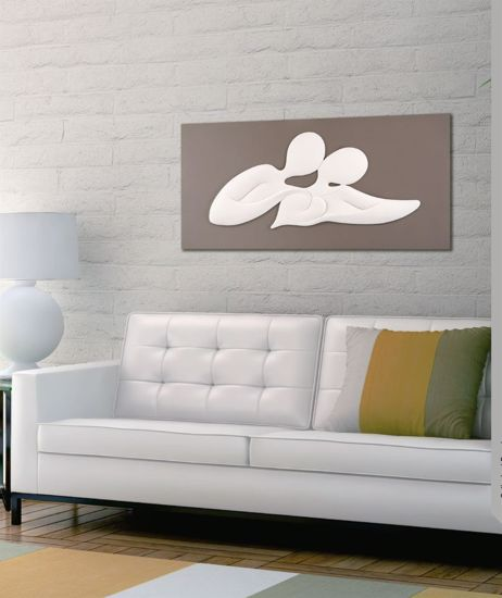 Picture of MEMORY BONGELLI ART ABOVE BED LOVERS DOVE GREY BACKGROUND