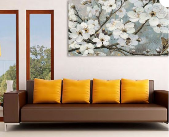 Picture of WALL ARTWORK WHITE FLOWES PRINT ON CANVAS 100X50