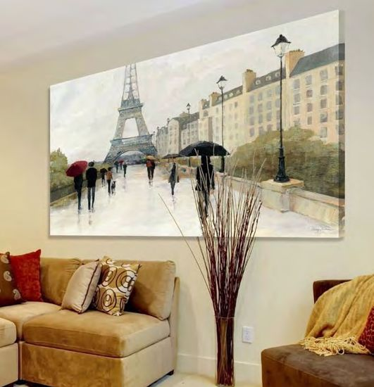 Picture of WALL ART RAIN PARIS AND TOUR EIFFEL 100X50 CANVAS PRINT