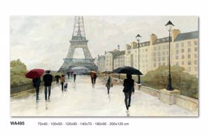 Picture of WALL ART RAIN PARIS AND TOUR EIFFEL 120X90 CANVAS PRINT