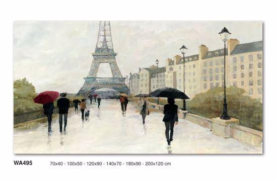 Picture of WALL ART RAIN PARIS AND TOUR EIFFEL 140X70 CANVAS PRINT