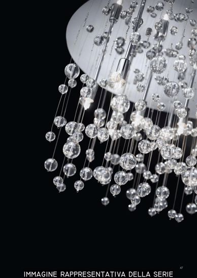 Picture of IDEAL LUX PL8 CHROME CEILING LAMP WITH GLASS SPHERE 8LIGHTS