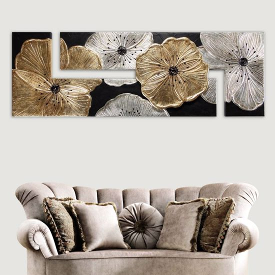 Picture of PINTDECOR PETUNIA ORO BIG WALL ART 197X67 HAND-DECORATED WITH GOLD AND SILVER FOIL