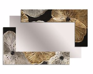 Picture of PINTDECOR PETUNIA ORO SCOMPOSTA PICCOLA WALL MIRROR MODERN DESIGN HORIZONTAL/VERTICAL HANGING HAND-DECORATED WITH EMBOSSED RESIN FRAME