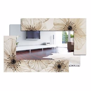 Picture of PINTDECOR PETUNIA SCOMPOSTA PICCOLA WALL MIRROR HORIZONTAL/VERTICAL HANGING WITH EMBOSSED RESIN IVORY COLOURED