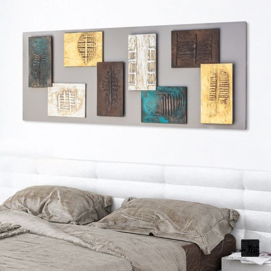 Picture of PINTDECOR PROMETEO ABSTRACT WALL ART 3 HAND-DECORATED ELEMENTS ON DOVE-GREY CANVAS