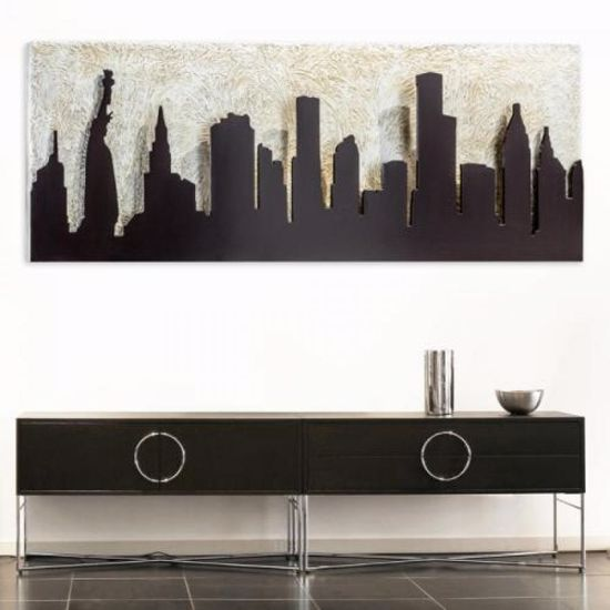 Picture of PINTDECOR MANHATTAN WALL ART RELIEF MDF COFFEE AND SILVER FOIL DETAILS