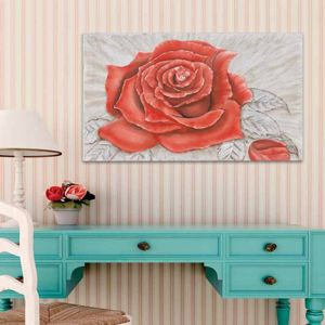 Picture of PINTDECOR ROSE ROUGE WALL ART HAND-DECORATED AND EMBOSSED CANVAS WITH SILVER FOIL DETAILS