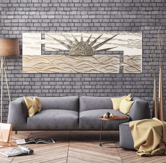 Picture of PINTDECOR ALBA SUL MARE WALL ART HAND-DECORATED SUN EMBOSSED RESIN