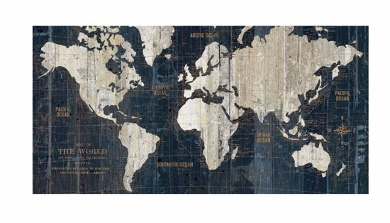 Picture of WALL ARTWORK WORLD MAP PRINT ON CANVAS 140X70