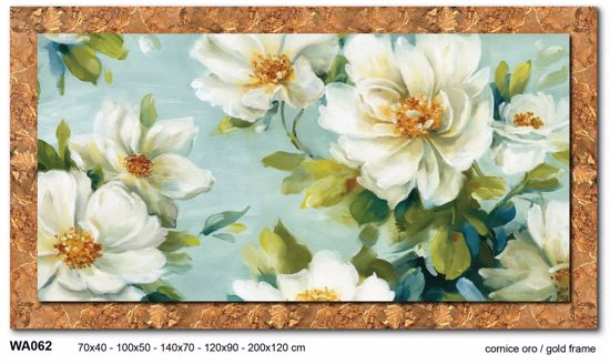 Picture of WALL ARTWORK WHITE FLOWERS CANVAS PRINT WITH GOLD FRAME 100X50