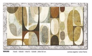Picture of MANIE WALL ARTWORK ABSTRACT PRINT ON CANVAS 100X50 SILVER FRAME