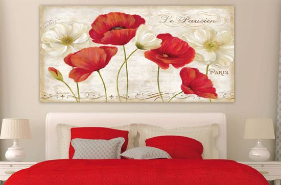 Picture of MANIE BIG ART ABOVE BED 200X120 POPPIES CANVAS