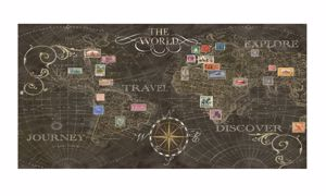 Picture of MANIE WORLD MAP FAUX-LEATHER CANVAS 100X50