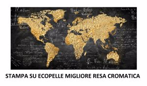 Picture of WALL ARTWORK WORLD MAP LARGE PRINT ON FAUX LEATHER GOLD 180X90