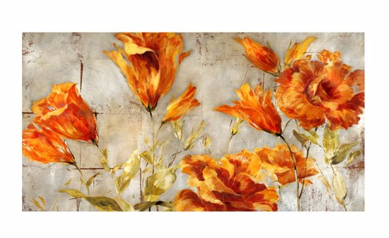 Picture of WALL ARTWORK ORANGE FLOWERS CANVAS PRINT 140X70