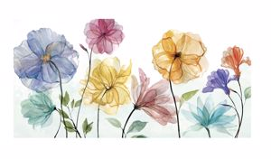Picture of MANIE MODERN  WALL ART 100X50  MULTICOLOURED FLOWERS ON CANVAS