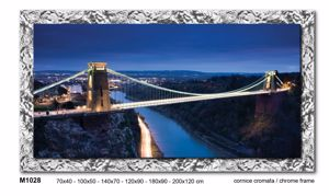 Picture of WALL ARTWORK BRIDGE PRINT ON CANVAS 70X40 GLOSSY CHROME FRAME
