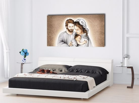 Picture of CONTEMPORARY ART ABOVE BED SACRED FAMILY 100X50