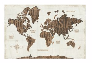 Picture of MANIE WALL ARTWORK WORLD MAP WITH WRITTINGS PRINT ON CANVAS 200X120