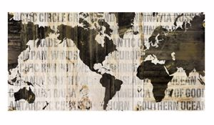 Picture of WALL ARTWORK WORLD MAP 180X90 PRINT ON CANVAS