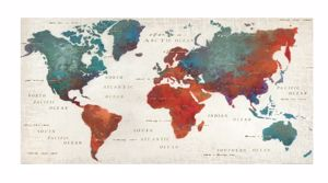Picture of WALL ARTWORK MODERN COLOUR PLANISPHERE 140X70 CANVAS PRINT