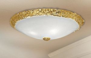 Picture of LAM EXPORT CEILING LAMP CM30 IN WHITE AND GOLD LEAF GLASS