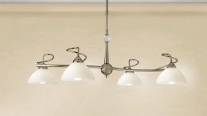 Picture of CLASSIC PENDANT LIGHT 4LIGHTS SILVER LEAF AND SATIN GLASS LAM EXPORT