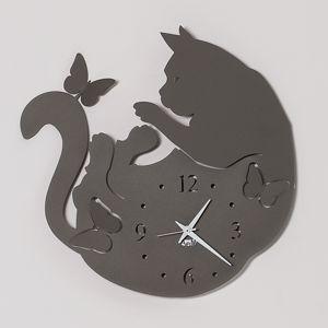 Picture of ARTI E MESTIERI CAT & BUTTERFLY OROLOGIO DA PARETE GATTO COLORE FANGO