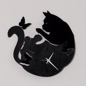 Picture of ARTI E MESTIERI CAT & BUTTERFLY OROLOGIO DA PARETE NERO GATTO