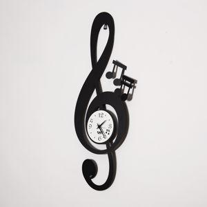 Picture of ARTI E MESTIERI CHIAVE MUSICALE OROLOGIO DA PARETE NERO DESIGN MODERNO