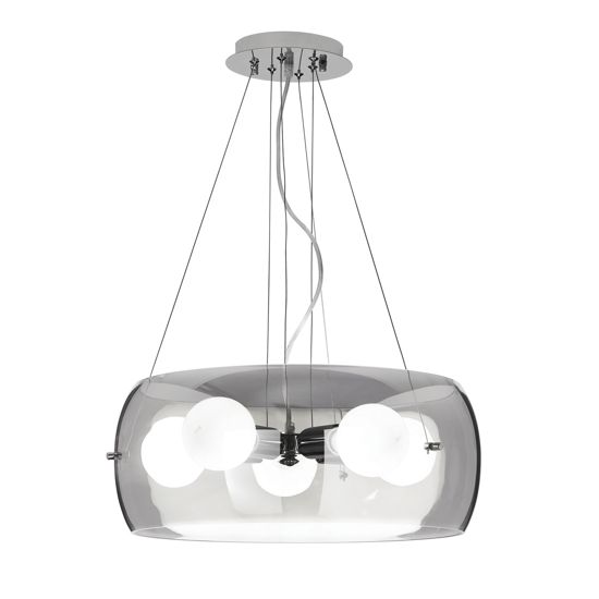 Picture of IDEAL LUX AUDI10 MODERN 5LIGHTS PENDANT LIGTH SMOKY BLOWN GLASS