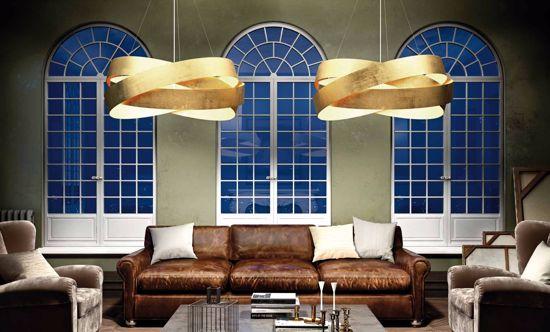 Picture of PENDANT LIGHT MARCHETTI PURA Ø60CM GOLDEN LEAF METAL DESIGN