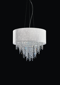 Picture of ANTEA LUCE GLITTER PENDANT LAMP Ø55 WHITE TEXTILE WITH CRYSTALS