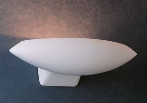 Picture of WHITE CURVED PLASTER WALL LIGHT 42CM