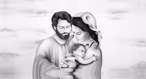 Picture of ART ABOVE BED HOLY FAMILY 140X70 BLACK AND WHITE FAUX LEATHER PRINT WITH DECOR